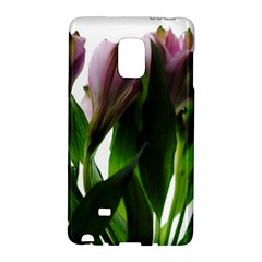 Pink Flowers on White Samsung Galaxy Note Edge Hardshell Case