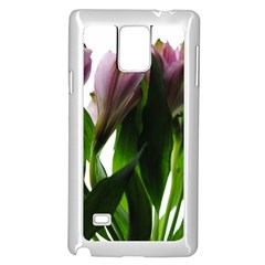 Pink Flowers on White Samsung Galaxy Note 4 Case (White)