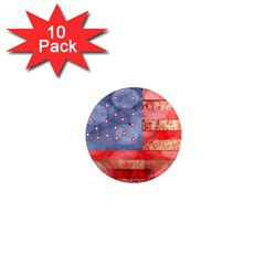 Distressed American Flag 1  Mini Button Magnet (10 Pack)