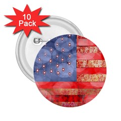 Distressed American Flag 2 25  Button (10 Pack)