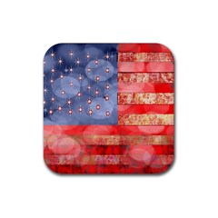 Distressed American Flag Drink Coaster (square)