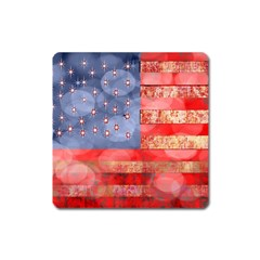 Distressed American Flag Magnet (square)
