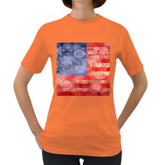 Distressed American Flag Women s T Shirt (colored)