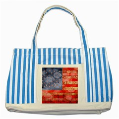 Distressed American Flag Blue Striped Tote Bag