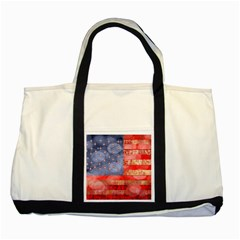 Distressed American Flag Two Toned Tote Bag