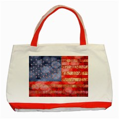 Distressed American Flag Classic Tote Bag (Red)