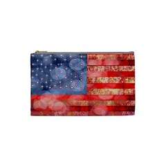 Distressed American Flag Cosmetic Bag (small)