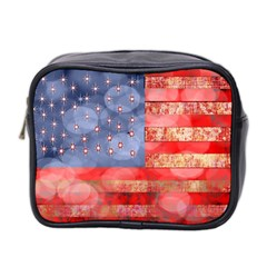 Distressed American Flag Mini Travel Toiletry Bag (two Sides)