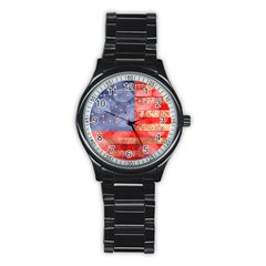 Distressed American Flag Sport Metal Watch (black)