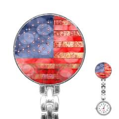 Distressed American Flag Stainless Steel Nurses Watch