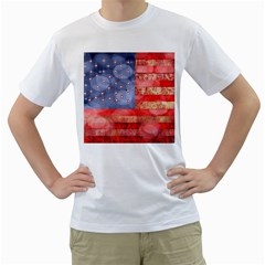 Distressed American Flag Men s T-Shirt (White)