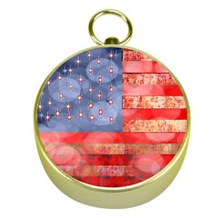 Distressed American Flag Gold Compass