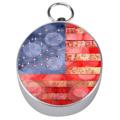 Distressed American Flag Silver Compass