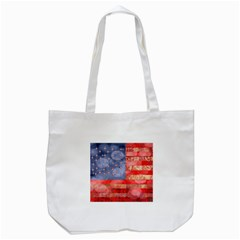 Distressed American Flag Tote Bag (White)