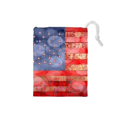 Distressed American Flag Drawstring Pouch (Small)
