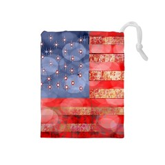 Distressed American Flag Drawstring Pouch (medium)