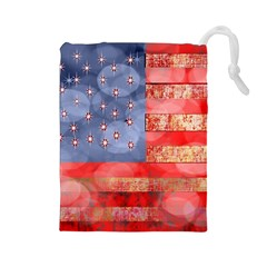 Distressed American Flag Drawstring Pouch (Large)