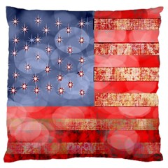 Distressed American Flag Large Flano Cushion Case (One Side)