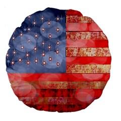 Distressed American Flag 18  Premium Flano Round Cushion