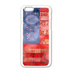 Distressed American Flag Apple iPhone 6 White Enamel Case