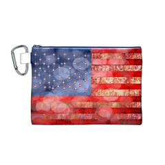 Distressed American Flag Canvas Cosmetic Bag (medium)