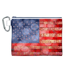 Distressed American Flag Canvas Cosmetic Bag (Large)