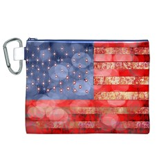 Distressed American Flag Canvas Cosmetic Bag (XL)