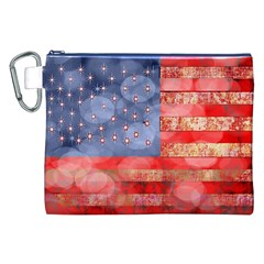 Distressed American Flag Canvas Cosmetic Bag (XXL)