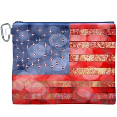 Distressed American Flag Canvas Cosmetic Bag (XXXL)