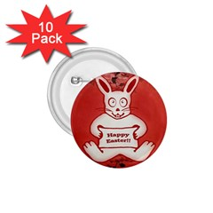 Cute Bunny Happy Easter Drawing Illustration Design 1 75  Button (10 Pack)