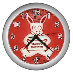 Cute Bunny Happy Easter Drawing Illustration Design Wall Clock (silver)