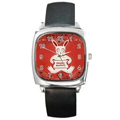 Cute Bunny Happy Easter Drawing Illustration Design Square Leather Watch