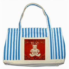 Cute Bunny Happy Easter Drawing Illustration Design Blue Striped Tote Bag
