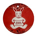 Cute Bunny Happy Easter Drawing Illustration Design Round Ornament (Two Sides) Front