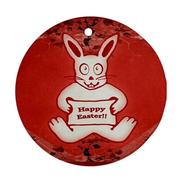 Cute Bunny Happy Easter Drawing Illustration Design Round Ornament (Two Sides)