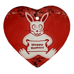 Cute Bunny Happy Easter Drawing Illustration Design Heart Ornament (two Sides)