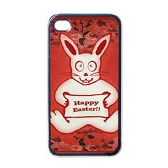 Cute Bunny Happy Easter Drawing Illustration Design Apple Iphone 4 Case (black)