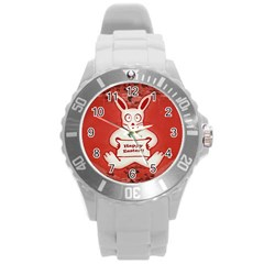 Cute Bunny Happy Easter Drawing Illustration Design Plastic Sport Watch (large)