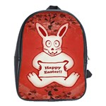 Cute Bunny Happy Easter Drawing Illustration Design School Bag (XL) Front