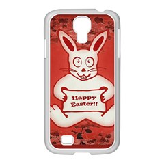 Cute Bunny Happy Easter Drawing Illustration Design Samsung Galaxy S4 I9500/ I9505 Case (white)
