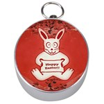 Cute Bunny Happy Easter Drawing Illustration Design Silver Compass Front