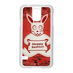 Cute Bunny Happy Easter Drawing Illustration Design Samsung Galaxy S5 Case (white)