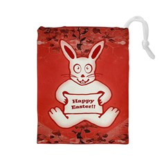 Cute Bunny Happy Easter Drawing Illustration Design Drawstring Pouch (Large)