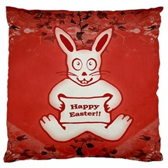 Cute Bunny Happy Easter Drawing Illustration Design Large Flano Cushion Case (one Side)