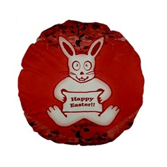 Cute Bunny Happy Easter Drawing Illustration Design 15  Premium Flano Round Cushion
