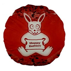 Cute Bunny Happy Easter Drawing Illustration Design 18  Premium Flano Round Cushion