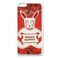 Cute Bunny Happy Easter Drawing Illustration Design Apple iPhone 6 Plus Enamel White Case