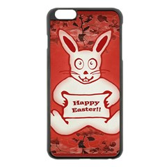 Cute Bunny Happy Easter Drawing Illustration Design Apple Iphone 6 Plus Black Enamel Case