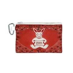 Cute Bunny Happy Easter Drawing Illustration Design Canvas Cosmetic Bag (Small)