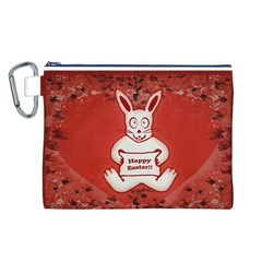 Cute Bunny Happy Easter Drawing Illustration Design Canvas Cosmetic Bag (Large)